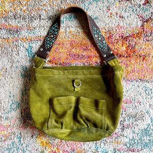 Tylie Malibu Olive Suede w Jeweled Leather Strap